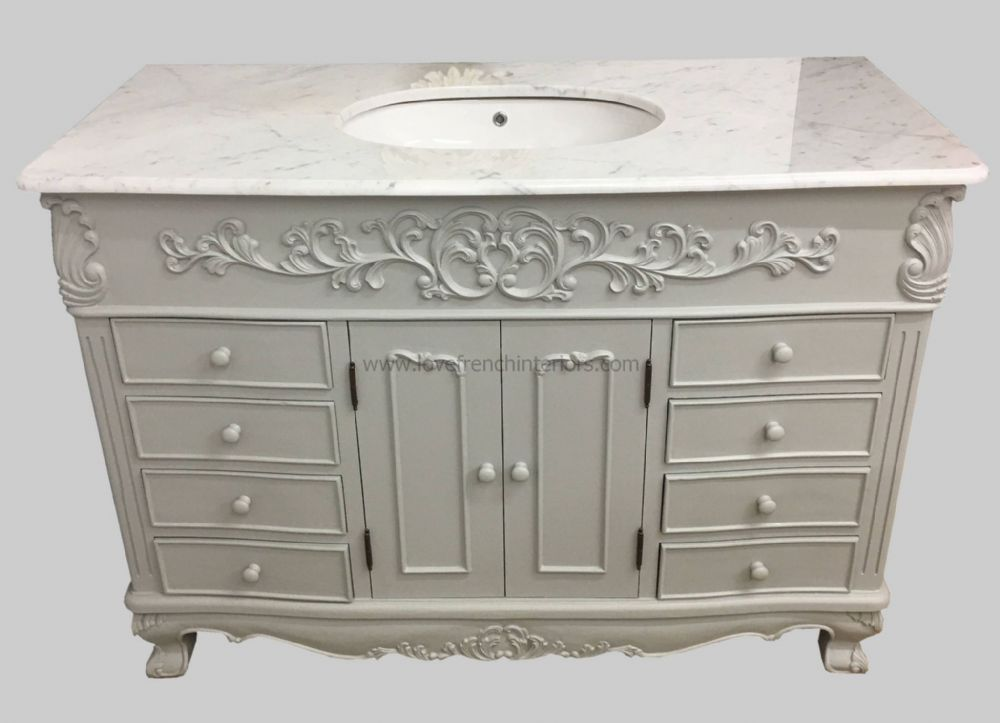 Bespoke Single Bowl French Vanity Unit with Solid Marble Top